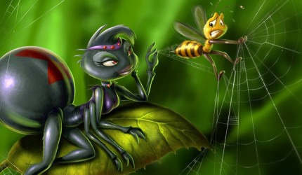 Spider and Bee 3D Wallpaper