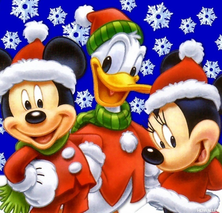 Mickey Mouse at Christmas Wallpaper