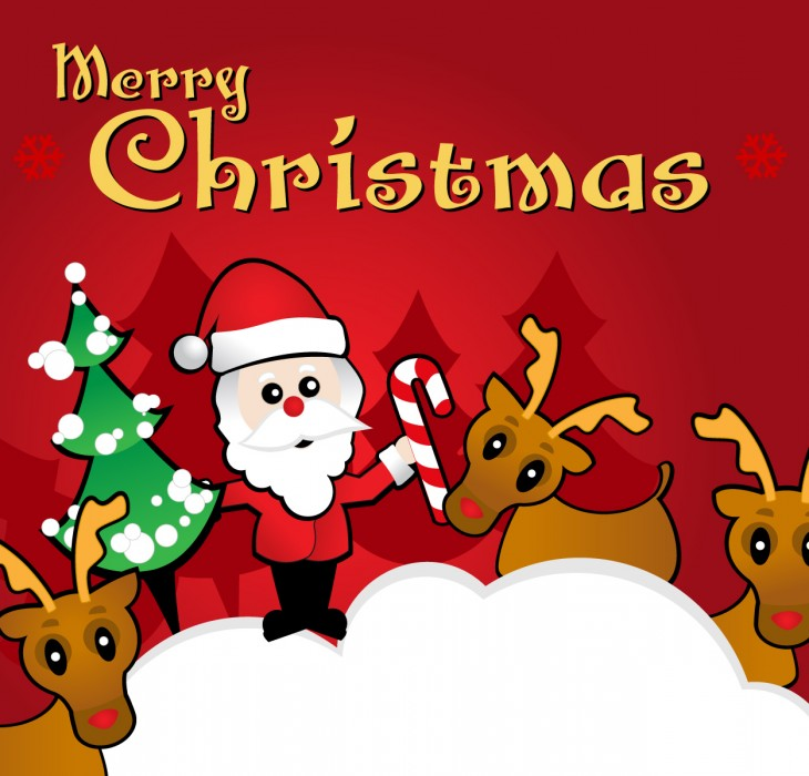 Santa and Friends Christmas Wallpaper