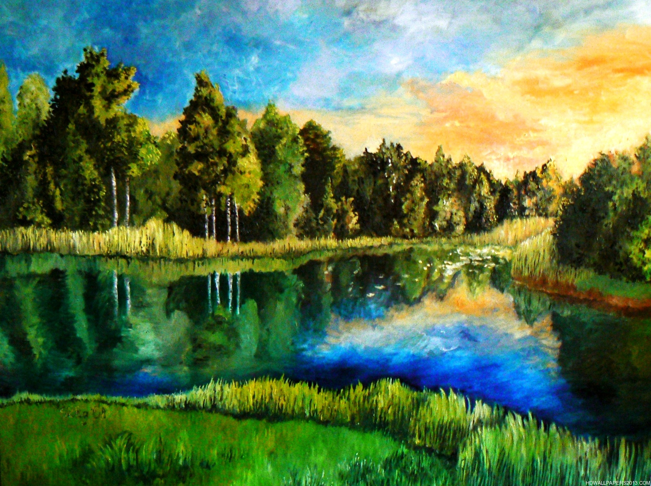 Beautiful lake painting high definition wallpapers high for Artwork landscapes