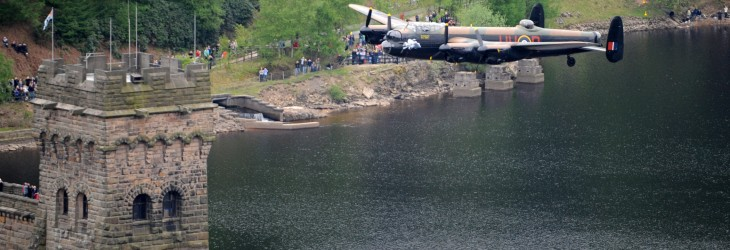Lancaster Bomber of Battle of Britain Memorial Flight over Derwent Water