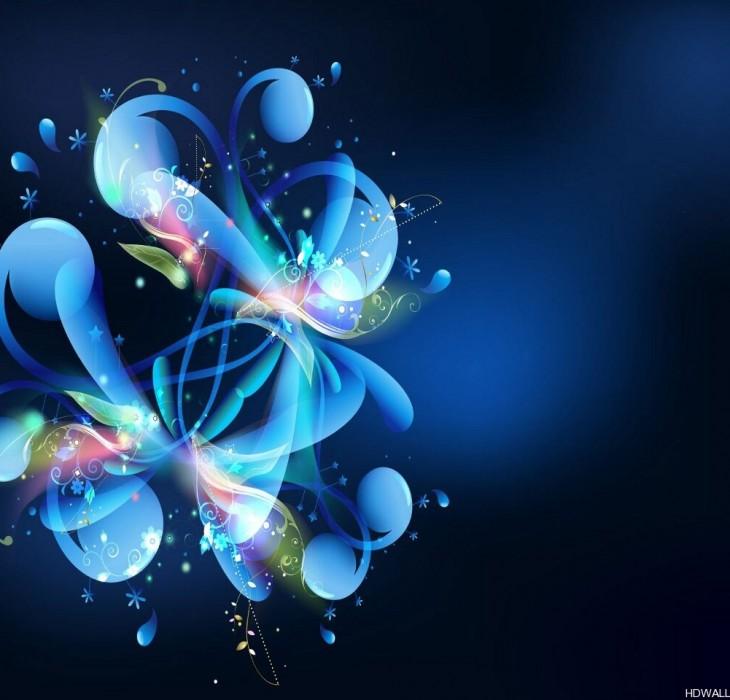 Blue Flower Abstract Wallpaper