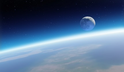 A view of the Moon from the Earth's atmosphere