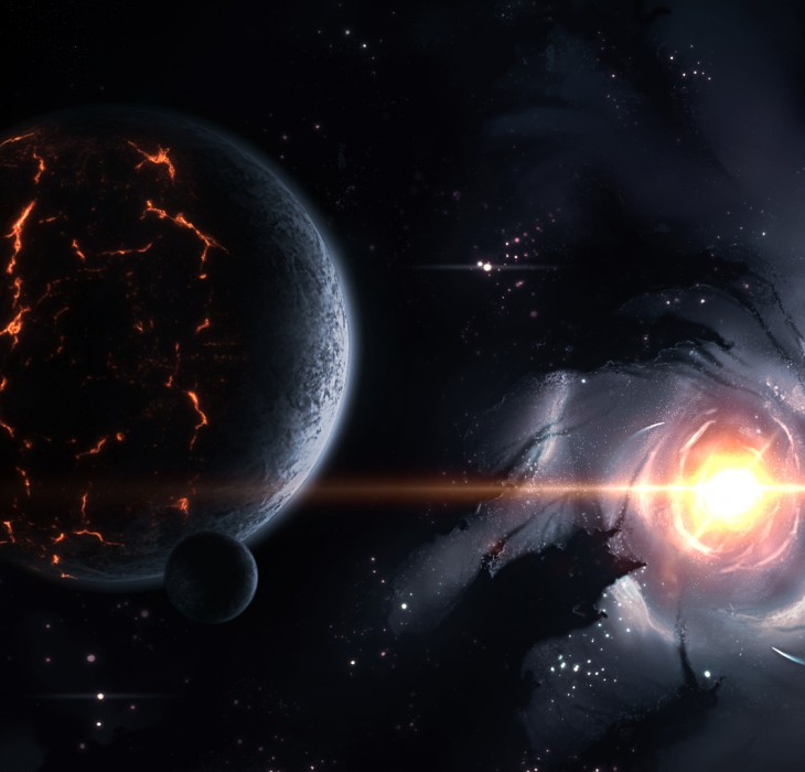 Artists impression of a planet and vortex