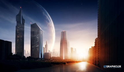 Sunset over a city with a large planet in the sky wallpaper