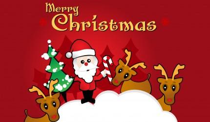 Santa and Friends Christmas Wallpaper