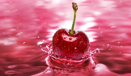 3D Splash of Cherry