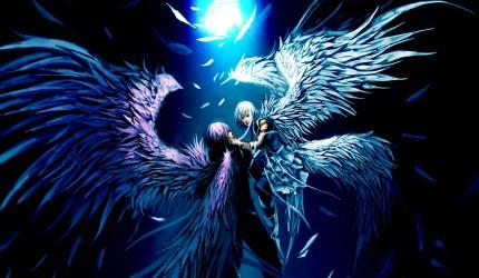 Blue Anime Angel Desktop Image